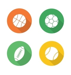 Sport balls flat design icons set vector
