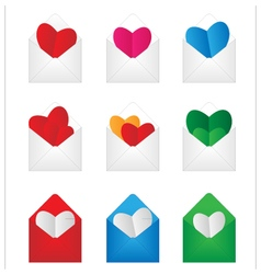 Set envelop with paper hearts inside vector
