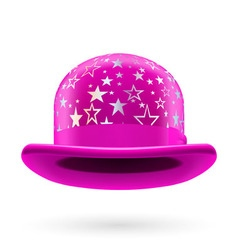 Magenta starred bowler hat vector
