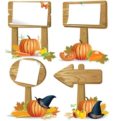 Wooden sign boards thanksgiving vector