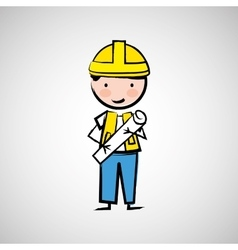 Worker engineer architect vector