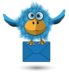 Blue bird with a blue envelope vector