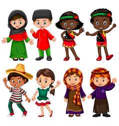 boys and girls in traditional costumes vector image