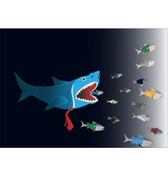 Business world big fish eat small fish vector