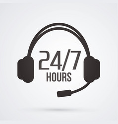 Call center 24 hours a day and 7 days service vector