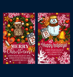christmas holiday sketch greeting card vector image