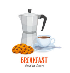 Coffee pot and coffee cup with biscuits vector