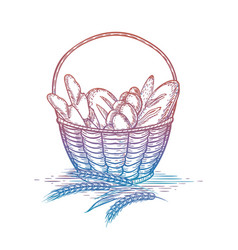 Colorful wicker basket of bread goods vector