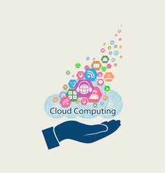 Computer cloud with hand silhouette vector