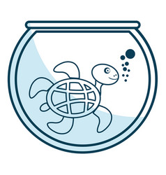 Cute turtle character in aquarium vector