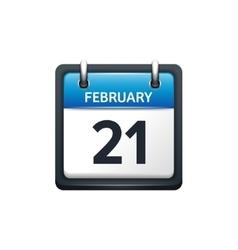 February 21 calendar icon vector