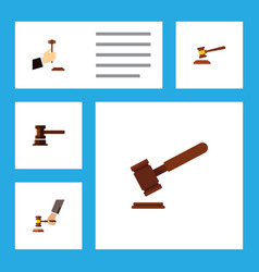 Flat icon hammer set of crime law government vector