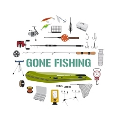 Gone fishing tackle icons round design concept vector