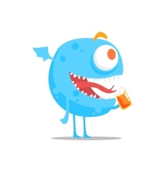 Happy blue round monster with wings drinking beer vector