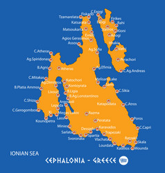Island of cephalonia in greece orange map and vector