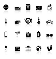 Journey icons with reflect on white background vector