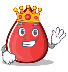 King blood drop cartoon mascot character vector