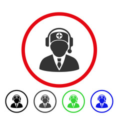 Medical operator rounded icon vector