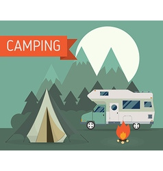 Mountain park camping with rv traveler truck vector