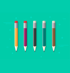 pencils set isolated flat cartoon color vector image vector image