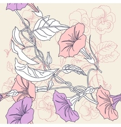 Seamless pattern with pansies and pink bindweed vector