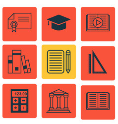 set of 9 education icons includes library vector image vector image