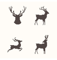 Set of silhouette images deer vector