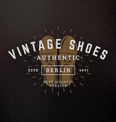 Shoes Vintage Retro Design Elements for Logotype vector image vector image