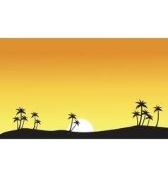 Silhouette of palm on seaside scenery vector image vector image