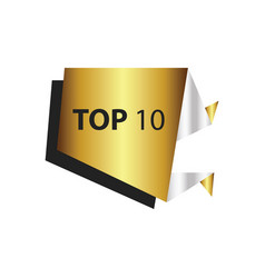 Top10 text in label gold silver vector
