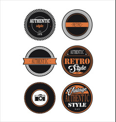 Vintage labels black and orange set 3 vector