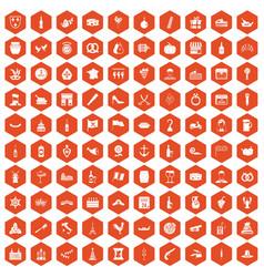 100 alcohol icons hexagon orange vector