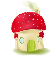 Red Mushroom House Cute Design vector image