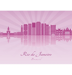 Rio de Janeiro V2 skyline in purple radiant orchid vector image