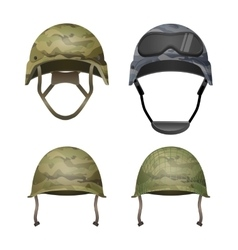 Set of military camouflage helmets in khaki camo vector image