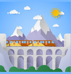 Mountain landscape with aqueduct and railway vector