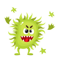 Ugly green virus germ bacteria character with vector