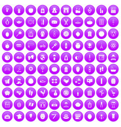 100 beauty product icons set purple vector