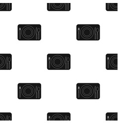 Served table icon in black style isolated on white vector