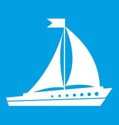 Sailing ship icon white vector