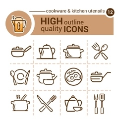 cookware icons vector image