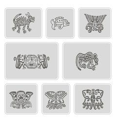 Set of monochrome icons with american indians vector