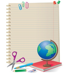 Notepad with school supplies vector