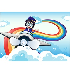 A female pilot driving the plane and a rainbow in vector