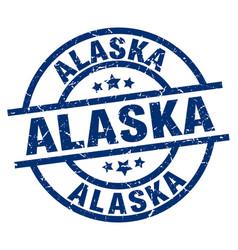 alaska blue round grunge stamp vector image vector image