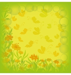 Background flowers and butterflies vector