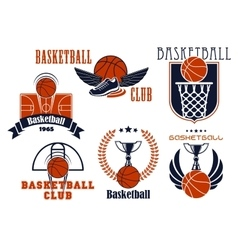 Basketball game icons with sport items vector