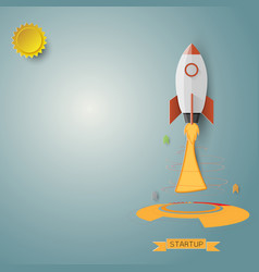 Business concept with rocket blue background vector