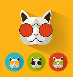 cat portrait with flat design vector image