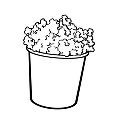 cinema popcorn in a big black and white striped vector image vector image